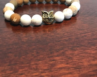 White turquoise with metal owl