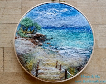 Felted Sky and Ocean - landscape painting with wool - Needle Felting Supplies - Felting Kit - E-tutorial  - beginner friendly -  DIY Craft