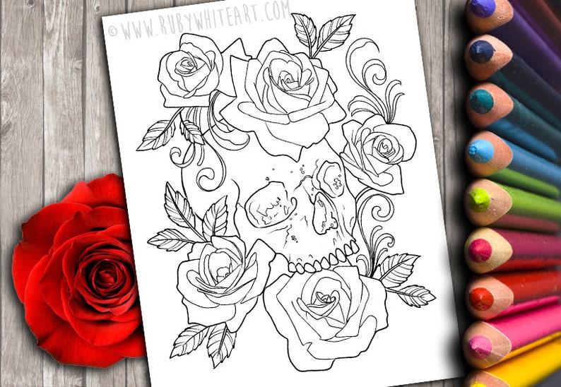 Tête De Mort Rose Livres à Colorier Coloriage Livres à Etsy