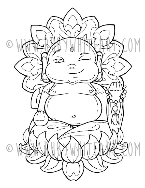 Baby Buddha Coloring Books Coloring Pages Adult Coloring Etsy