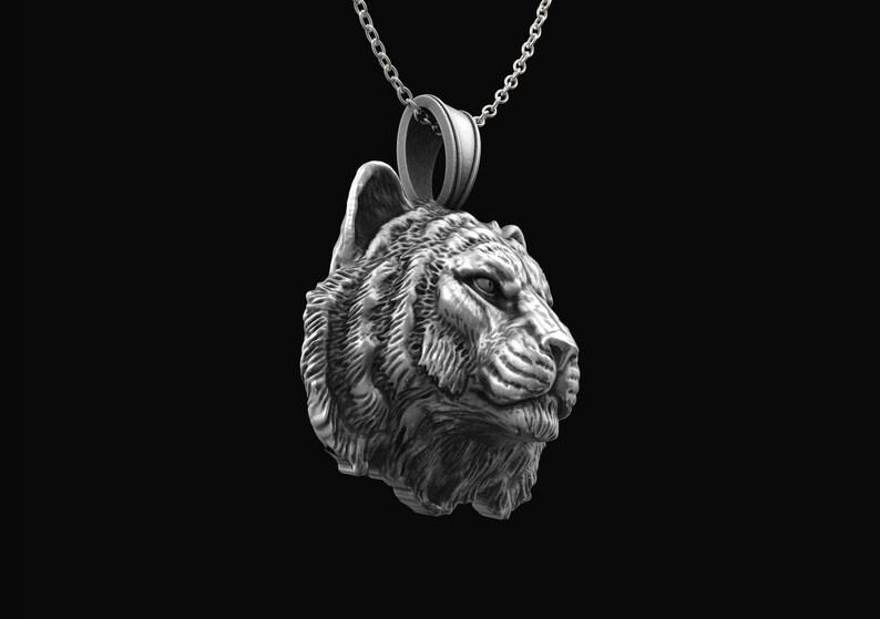 Tiger Men Silver Necklace Bengal Tiger Men Pendant Antique Silver Tiger Necklace Wild Tiger Silver Men/'s Necklace Mens Animal Pendant