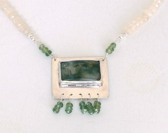 Moss Agate, Nephrite, Chalcedony and Sterling Silver Necklace, Pendant Necklace, Bridal, Statement Necklace FREE SHIPPING!