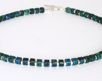 Azurite/Malachite and Sterling Silver Necklace, Blue/Green Beads,   FREE SHIPPING