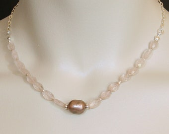 Rose Quartz, Pearl and Sterling Silver Necklace, Gemstone and Pearl Necklace, Delicate Necklace, Sterling Silver  FREE SHIPPING!