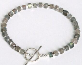 Labradorite, Hematite and Sterling Silver Bracelet FREE SHIPPING!