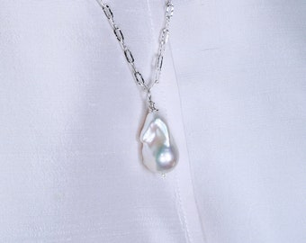 Baroque Flame Pearl and Sterling Silver Necklace, Long Necklace, Large Pearl  FEREE SHIPPING!