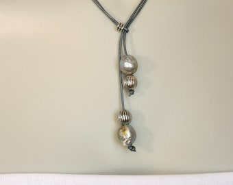 Baroque Pearl, Silver and Leather Necklace, Boho, Lariat, Choker