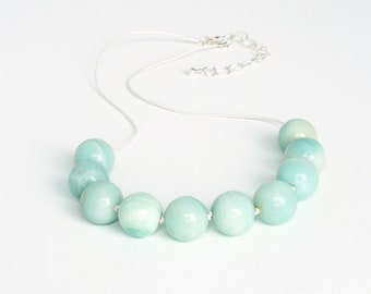 Amazonite, Leather and Sterling Silver Necklace Chunky Necklace, Aqua Beads, Bold Necklace, FREE SHIPPING