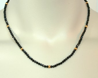 Black Spinel and Gold Necklace, Choker, Short Necklace, Gemstone Necklace  FREE SHIPPING
