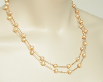 Pearl Necklace, Golden Pearl and Gold Long Station Necklace, 14k Gold Filled, Elegant Necklace  FREE SHIPPING