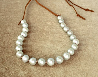 Grey Pearl and Leather Necklace, Boho Pearl Necklace, 10mm Grey Pearls  FREE SHIPPING!