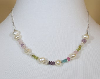 Freshwater Pearl, Gemstone and Sterling Silver Necklace