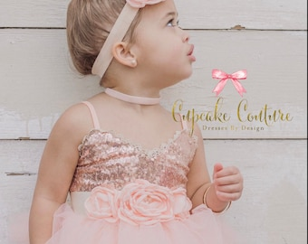Toddler Birthday Dress Girls Rose Gold Sequin Blush Flower Girl Photography Prop