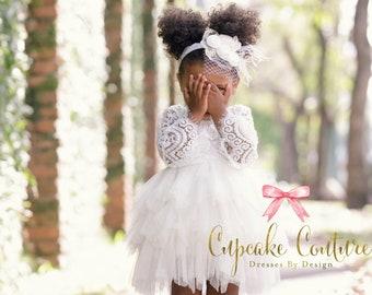 Ivory Flower girl dress, baby baptism dress, toddler baptism dress, ivory flower girl dress, toddler lace dress, bohemian flower girl dress