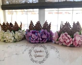 Newborn crown, 1st birthday crown, newborn baby crown, baby crown headband, baby floral headband, newborn gold crown
