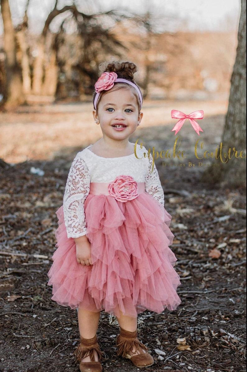 lace flower girl dress Flower girl dress photography prop mauve pink dress lace flower girl dress bohemian flower girl dress