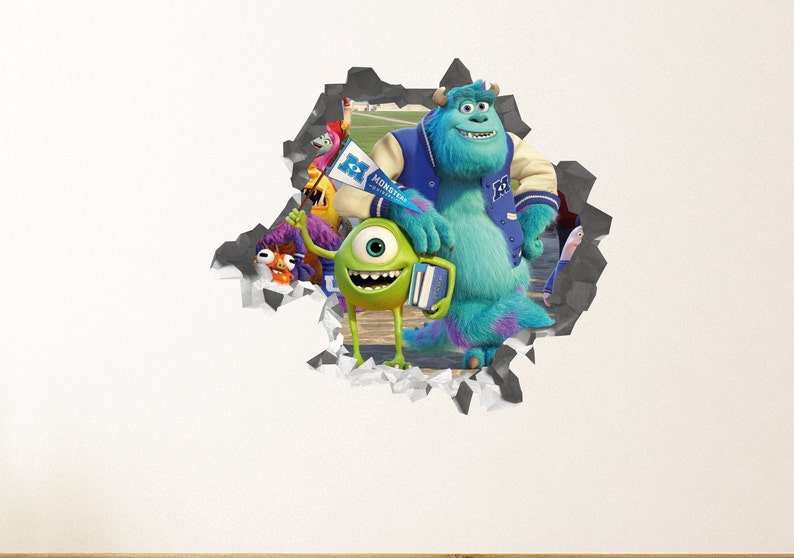 Monster Inc Wall Decal Sticker Kids Movie Wall Decor Art Etsy