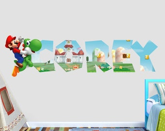 Mario Bros Custom Name 3D Personalized Wall Decal Sticker - Kids Wall Decor - Art Vinyl Wall Decal - VIC56