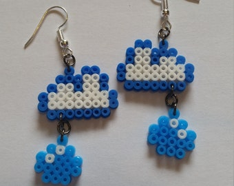 Rain cloud perler earrings