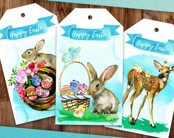 Easter Gift Tags Printable Easter Tags Instant Download PDF Easter Present Tags Favor Tags Easter Printable Gift Tags Happy Easter Gift Tags