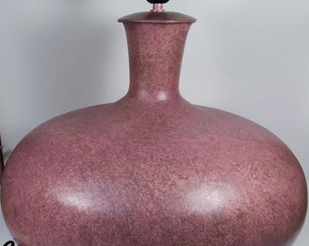 Table Lamp l Iron Powdered Coated l Hand Made Table Lamp l Home Decor l Bedside lamp l Pink And Black Powder Lacquer l Without Shade