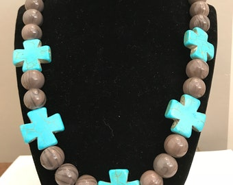 Gray and turquoise western necklace