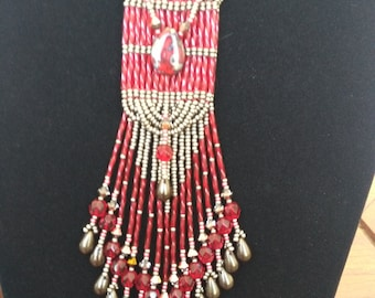 Long fringe necklace