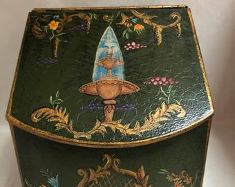 Vintage Ornate Decorative Toleware Folk Art Painted Metal Lidded Box