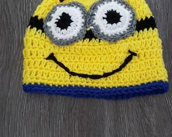 Handmade crochet minion hat for boys or girls.