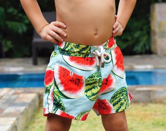 Taonga Beachwear Swim trunks, swim shorts, swimwear, swimsuits, boys, kids, toddler, father & son, beach apparel, fruits, sea