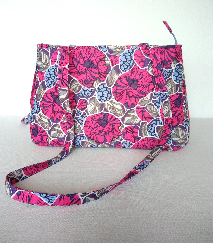 Hot Pink Shoulder Bag Cotton Purse Handbag Flower Print Bag