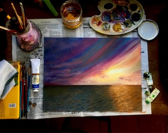 Oil painting of a setting sun