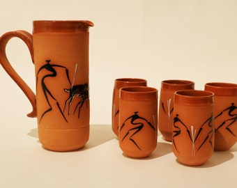 Pitcher with 5 matching cups