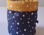 Fabric storage basket- Navy mustard stars- Nursery Decor- Nordic Style- Small Home Organiser