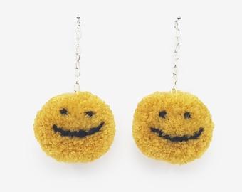 Smiley Pom Pom Earrings, handmade earrings, Good vibes, Smiley, Emoji Earrings, Handmade accessories, Drop Earrings, Quirky Earrings