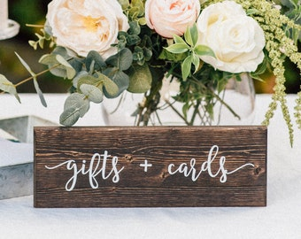 Gifts and Cards Sign - Wedding Wooden Sign - Rustic Table Decor - Wedding Table Centerpiece