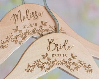 Personalized Bride Hanger - Wedding Dress Hanger - Bridal Dress Hanger - Wooden Engraved Hanger HG106