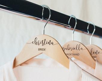 Personalized Bridesmaid Hangers - Wedding Hanger - Wooden Engraved Hanger - Bridal Dress Hanger - Wedding Name Hangers HG100