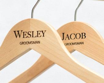 Personalized Groomsman Hangers - Wedding Hanger - Wooden Engraved Hanger - Groom Suit Hanger - Wedding Name Hangers HG108
