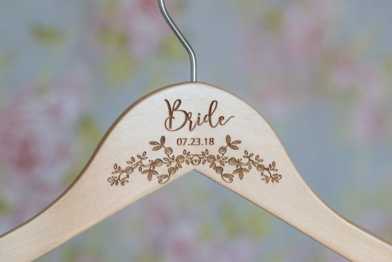 Bridal Dress Hanger Wooden Engraved Hanger HG106 Wedding Dress Hanger Personalized Bride Hanger