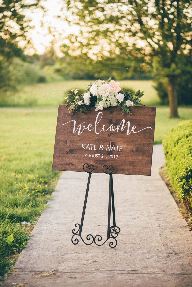 Wedding Welcome Sign  Wood Wedding Sign  Rustic Wedding image 1