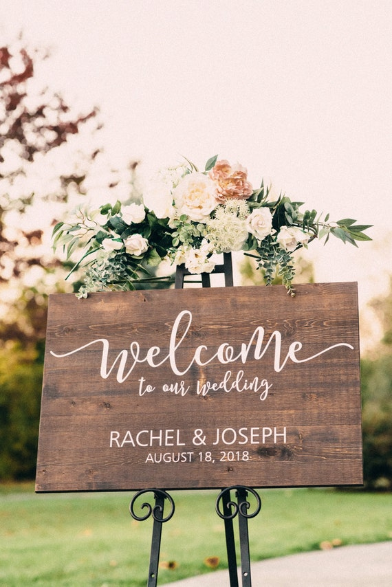 Wedding Welcome Sign - Welcome to our Wedding - Wood Wedding Sign - Rustic  Wedding Decor