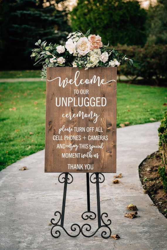 Unplugged Wedding Sign - Unplugged Ceremony Sign - Vertical Wooden Wedding  Sign - Rustic Wedding Decor