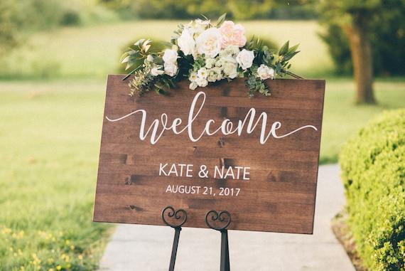 Wedding Welcome Sign Wood Wedding Sign Rustic Wedding Etsy