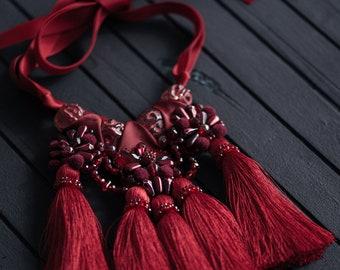 Tassel necklace Beaded tassel necklace Marsala burgundy necklace Boho silk tassel pendant Bohemian tassel jewelry Dark red  maroon necklace