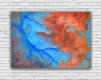 Abstract red and blue canvas