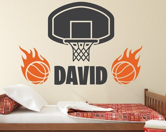 Custom Name Wall Decal   Basketball Wall Art Decal   Kids Boys Bedroom  Vinyl Wall Decor
