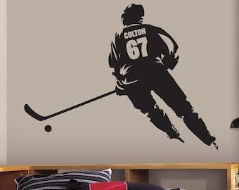 Custom Name Wall Decal Vintage Wall Art Hockey Kids Decor Sticker Mural St Louis DC84