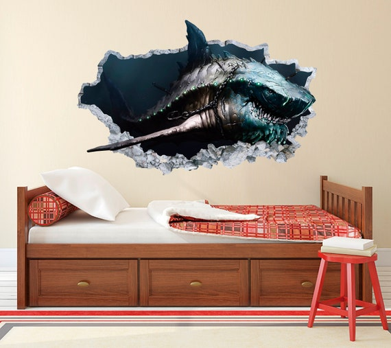 Baby Shark Wall Decal Smashed 3D Wall Decal Sticker Vinyl Decor Personalized 2