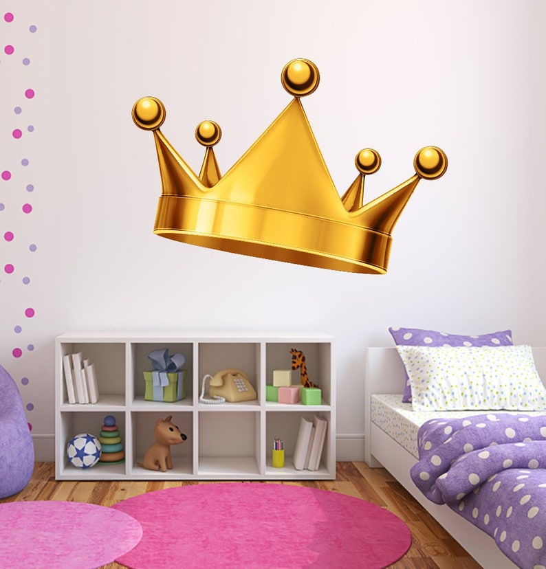 gold crown wall decal royal crown decal king and queen crown | etsy